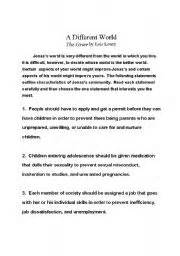 The Giver Essay Questions by The Giver Essay Questions