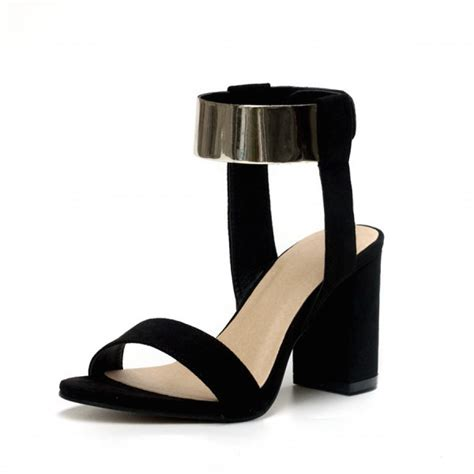 black ankle sandal heels black suede block heel gold ankle sandals