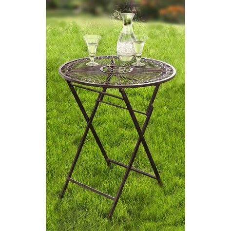 wrought iron folding table hgc provence metal folding wrought iron patio bistro