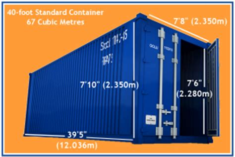 40 foot standard container dimensions containers