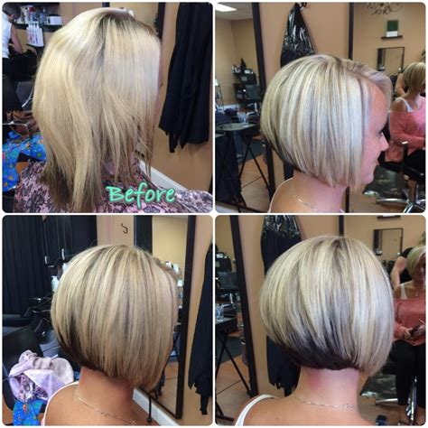 blonde bobbed hair with dark underneath a line haircut and blonde highlights hair colors ideas