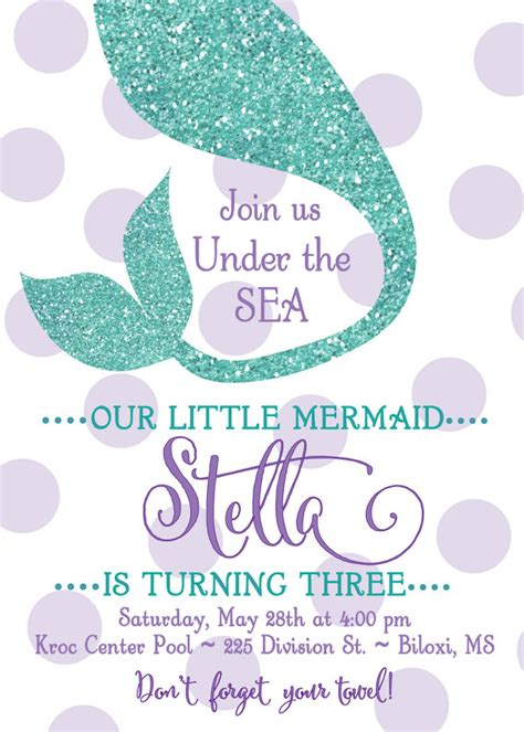 templates for under the sea mermaid birthday invitation quot under the sea quot digital