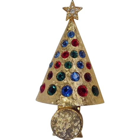 hattie carnegie quot light up quot christmas tree pin rare from