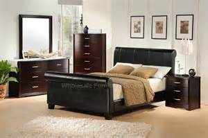Leather Bedroom Sets van ness leather sleigh bed bedroom furniture set by true classic
