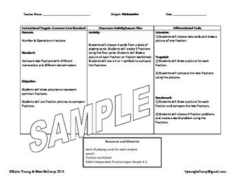 lesson plan template for differentiated common differentiated lesson plan template by bess