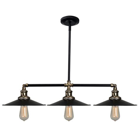 Pendant Island Lighting Kenroy Home Ancestry 3 Light Bronze Island Pendant With Black Shade 93377bl The Home Depot