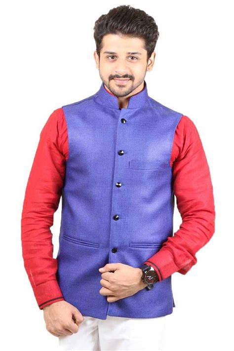 Dress Modis Nikky Style royal blue color modi jacket is manufactured on jute fabric present class style with this