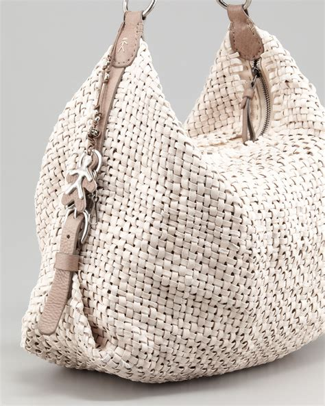 lyst henry beguelin woven leather hobo bag  natural