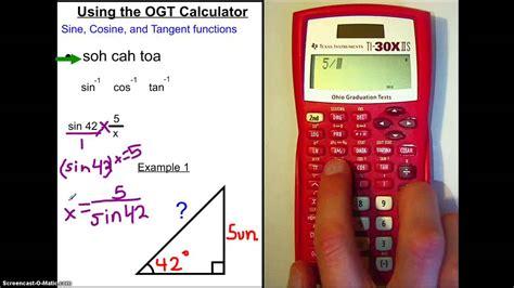 calculator inverse using the ogt calculator sine cosine tangent youtube