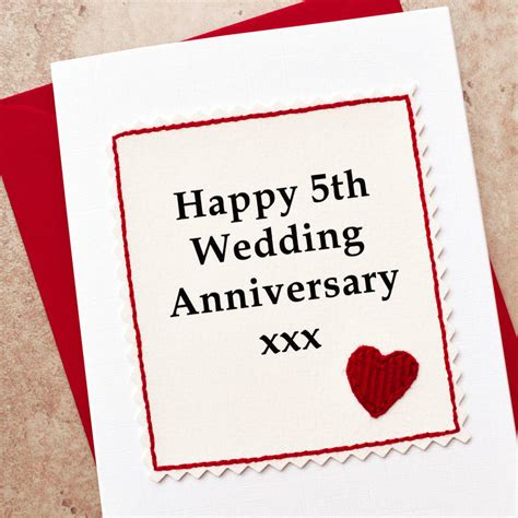 Wedding Anniversary 5th by Handmade 5th Wedding Anniversary Card By Arnott