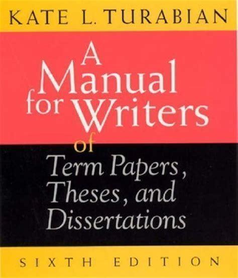manual for writers of research papers theses and dissertations manual writers term papers