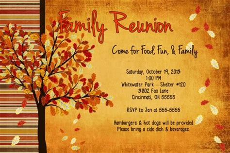 family reunion fall get together birthday party invitation