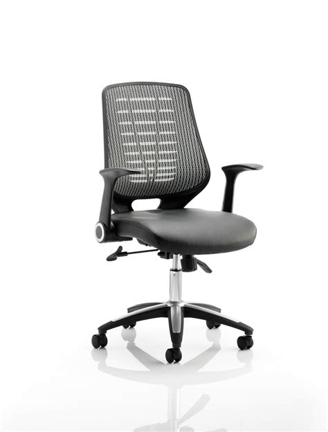 office chair seat relay mesh back office chair w leather seat and silver