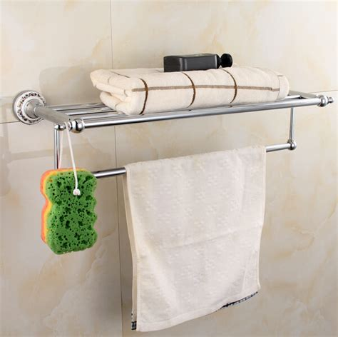 Bathroom Towel Rack Shelf Wall Mounted Chorme Sus 304 Bathroom Towel Rack Wall Mounted Towel