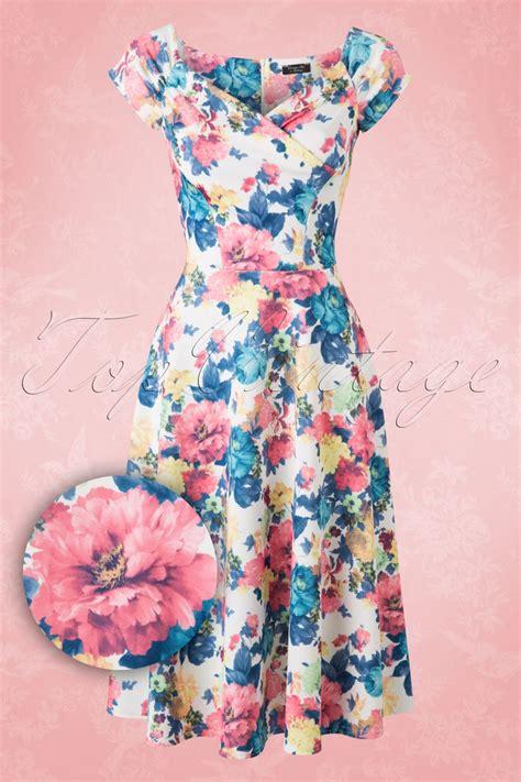 13492 Blue Pink Flower Dress 50s loretta floral swing dress in white