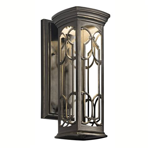 Outdoor Wall Lights Led Shop Kichler Franceasi 14 5 In H Olde Bronze Sky Led Outdoor Wall Light At Lowes