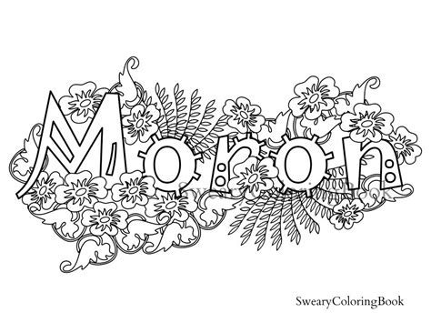 coloring book of swear words moron swear words coloring page from the by swearycoloringbook