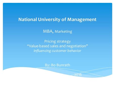 A Sle Of A Study In Mba Management by Value Based Negotiation Pricing