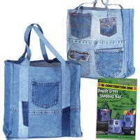 Denim Patchwork Bag Patterns Free - denim circle rag quilt and bag pattern set pieced quilts