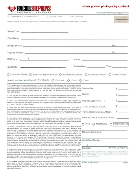 photographer agreement template 28 images wedding