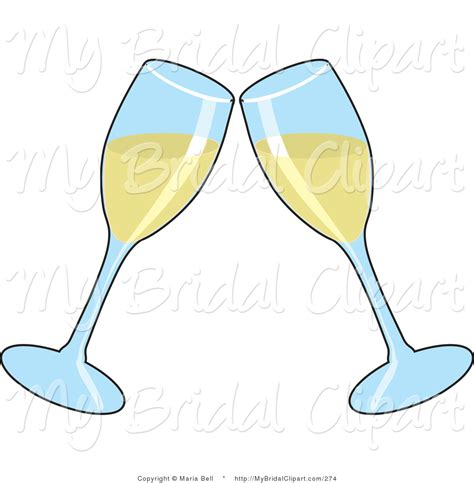 Wedding Glasses Clipart by Bridal Clipart Of Two Chagne Glasses Toasting With