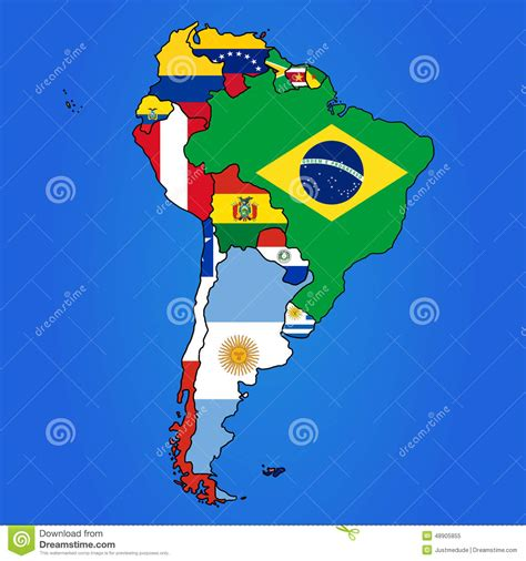 south america map with flags south america map stock vector illustration of government