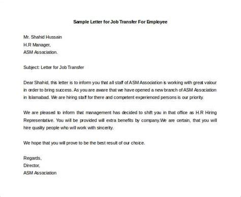 Transfer Letter At Work 33 Transfer Letter Templates Free Sle Exle