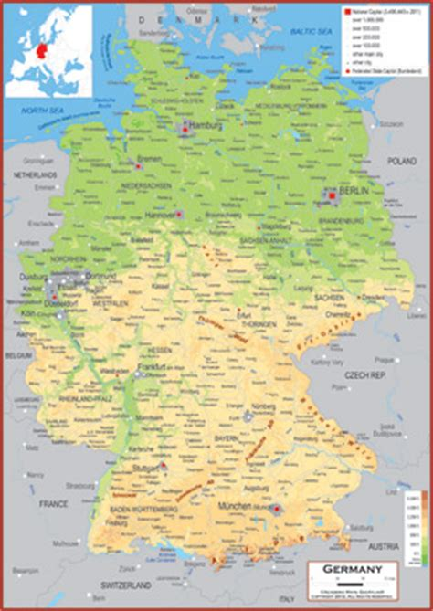 germany geographical map germany map geographical features