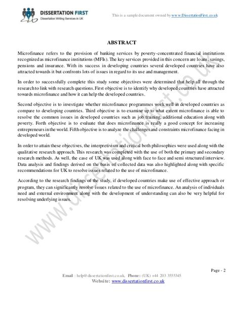 microfinance dissertation dissertation microfinance sle