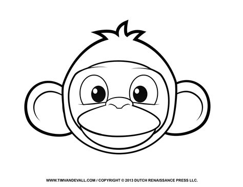 coloring page of a monkey face printable monkey clipart coloring pages cartoon crafts
