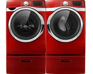 Samsung Pedestals For Washer And Dryer Samsung Red Steam Washer And Steam Electric Dryer Laundry