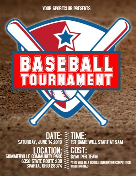 Baseball Tournament Flyer Template Postermywall Free Baseball Tournament Flyer Template