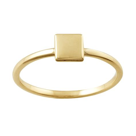 14k yellow gold stackable ring with square accent