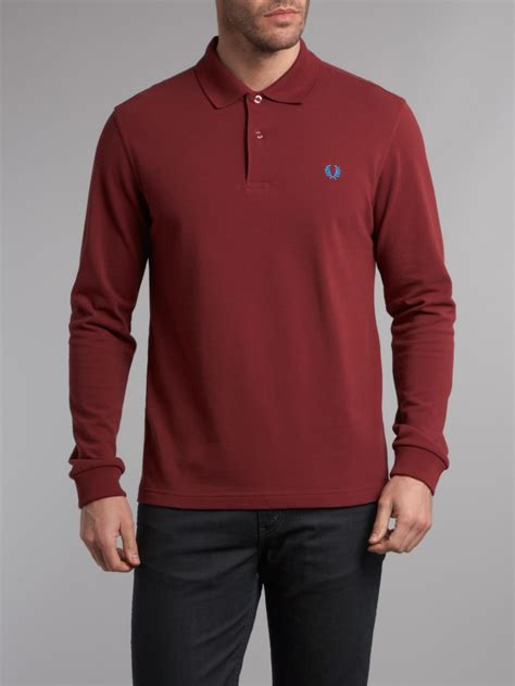 Blouse Polos Tali Maroon Tosca fred perry slim fit sleeve polo shirt in for lyst