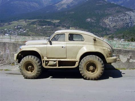 first jeep ever made a russian custom hybrid made up of the gaz pobeda car and
