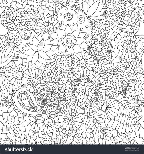 coloring book paper stock doodle flower pattern black white vector stock vector
