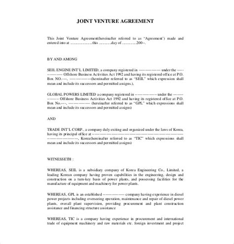 joint venture agreement template pdf joint venture agreement template 13 free word pdf