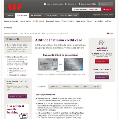 Westpac Gift Card - 40 000 reward points on westpac altitude platinum credit card 150 fee 0 if
