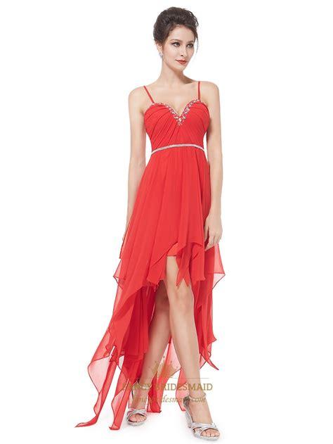 spaghetti chiffon dress spaghetti chiffon high low ruffle prom dress