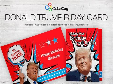 8 5x11 greeting card pdf template customizable printable birthday card pdf donald