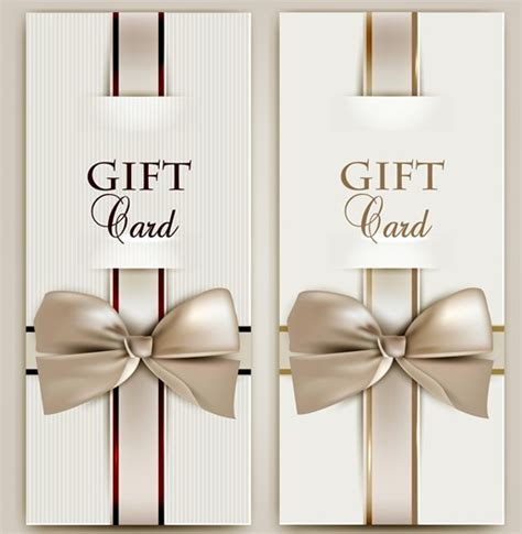 Gift Card Design Template - free vector elegant gift card with bow design template 03 titanui