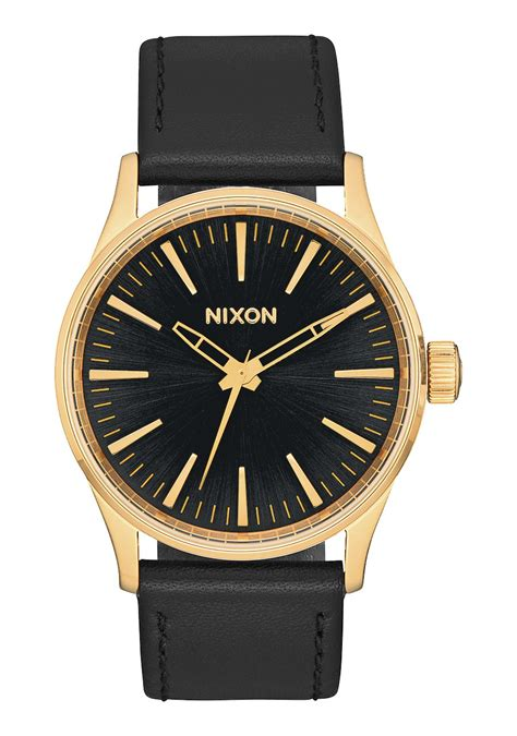 nixon sentry 38 leather watchgold black sunray