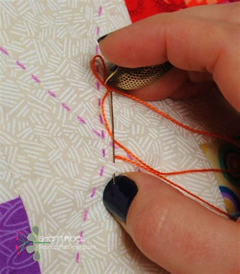 hand quilting tutorial for beginners how to hand quilt with perle cotton big stitch quilting