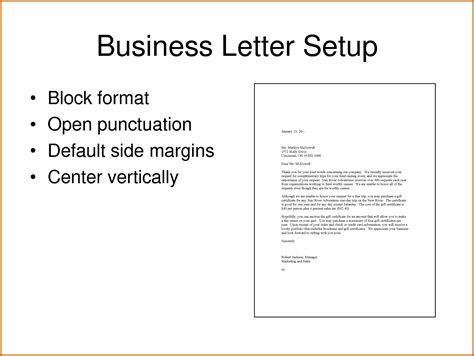 setting up a business letter the letter sle