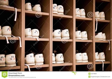 Bowling Alley Shoe Rack by Bowling Shoes On Racks Stock Photos Image 25218003