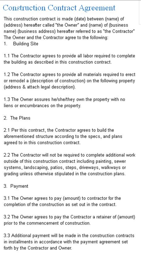 Construction Contract Agreement Template From Laws.com