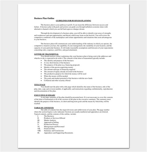 business outline template 20 free sles formats
