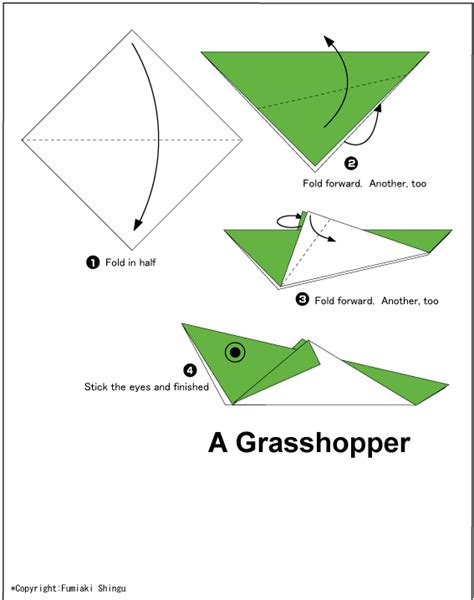 Origami Grasshopper - grasshopper easy origami for