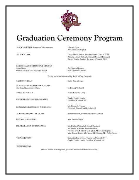 preschool graduation program templates free best photos of graduation ceremony program template