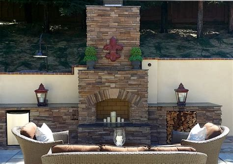 unique stone table with fireplace completing outdoor stone age outdoor fireplace with coronado stone veneer